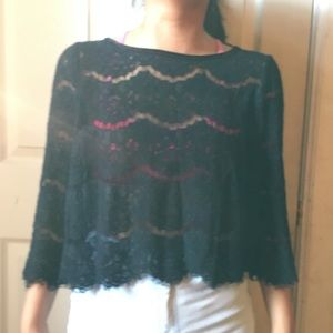 (3 for $15) Black Laced Top